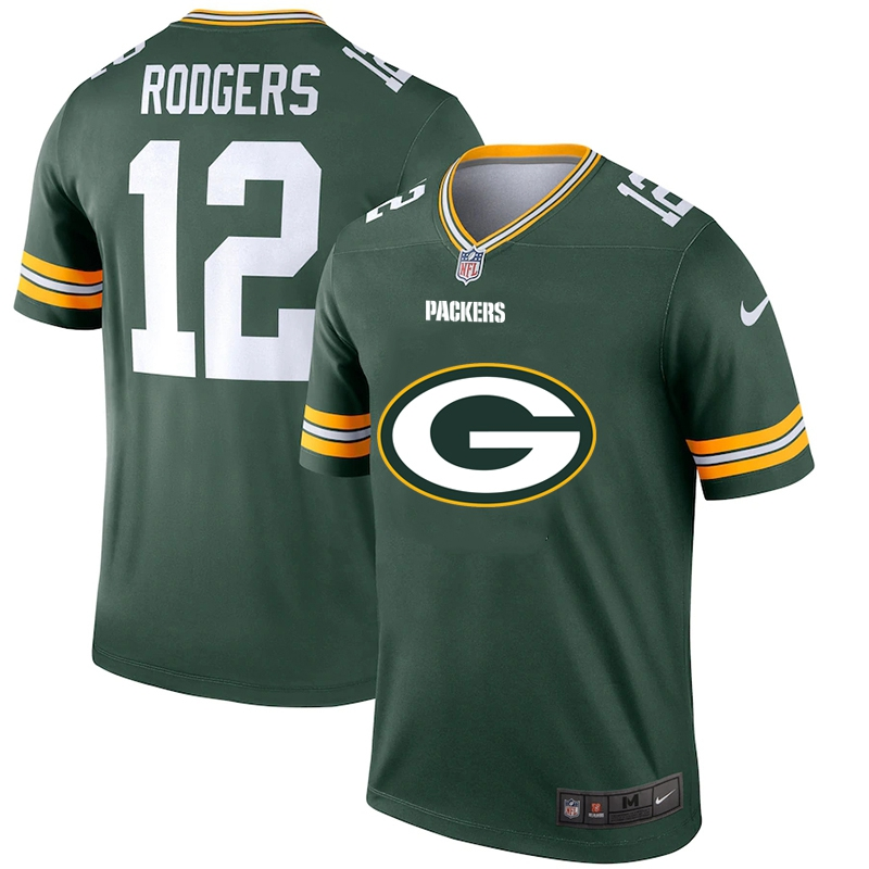Men's Green Bay Packers #12 Aaron Rodgers Green 2020 Team Big Logo Stitched Jersey