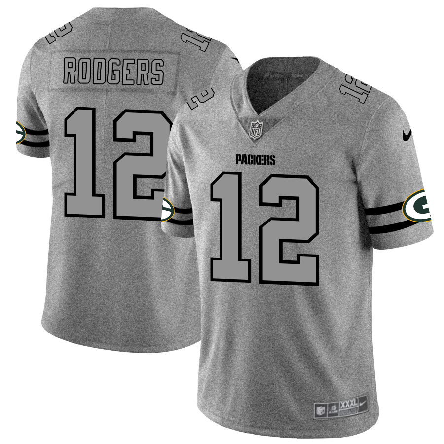 Men's Green Bay Packers #12 Aaron Rodgers 2019 Gray Gridiron Team Logo Limited Stitched NFL Jersey