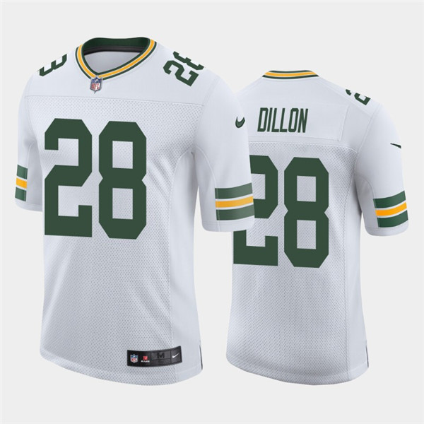 Men's Green Bay Packers #28 A.J. Dillon White Stitched Jersey