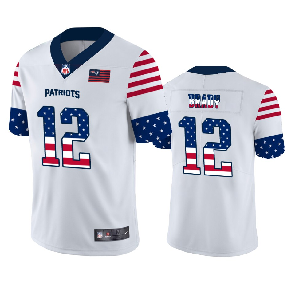 Men's New England Patriots #12 Tom Brady White 2019 USA Flag Fashion Limited Stitched NFL Jersey