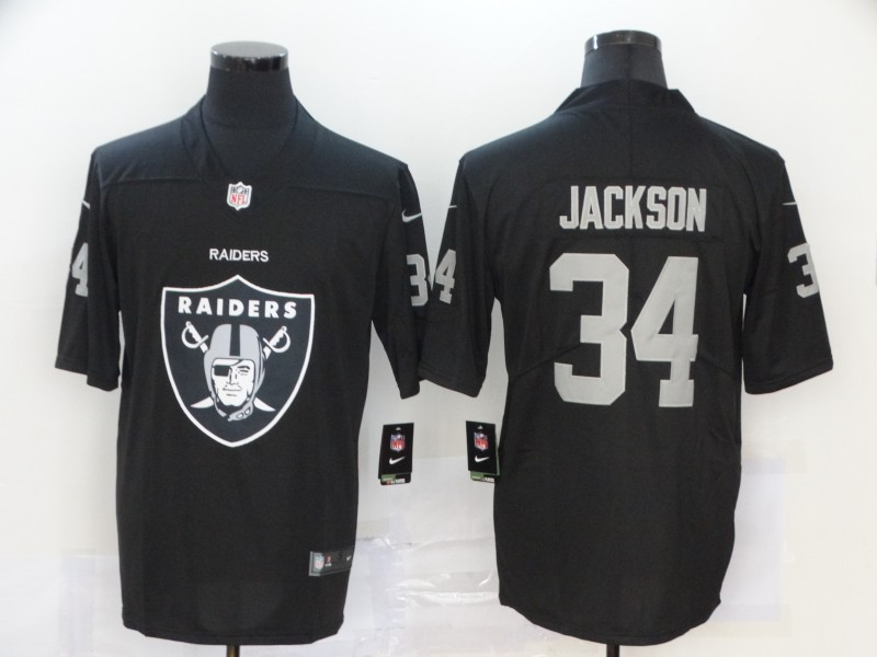 Men's Oakland Raiders #34 Bo Jackson Black 2020 Team Big Logo Limited Stitched Jersey