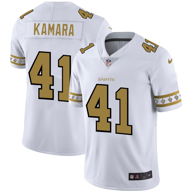 Men's New Orleans Saints #41 Alvin Kamara White 2019 Team Logo Cool Edition Stitched NFL Jersey