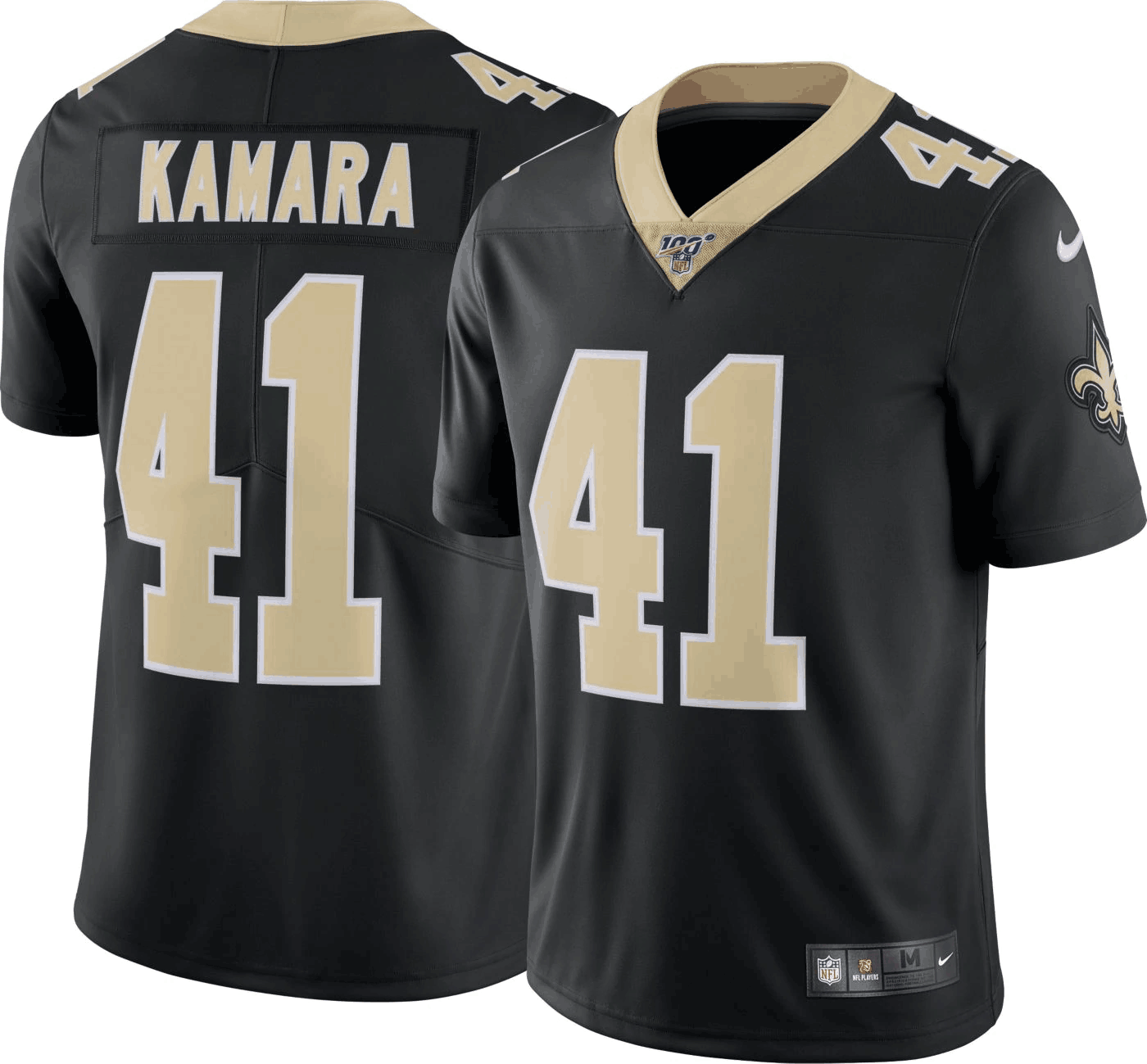 Men's New Orleans Saints #41 Alvin Kamara Black 2019 100th Season Vapor Untouchable Limited Stitched NFL Jersey