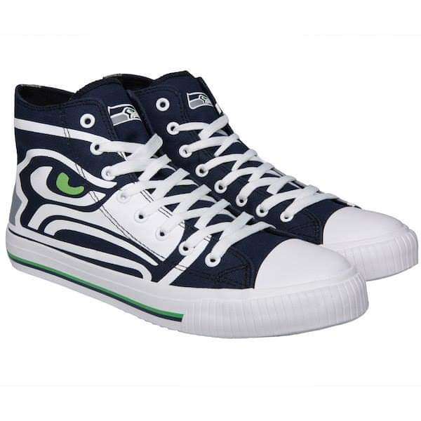 Women's NFL Seattle Seahawks Repeat Print High Top Sneakers 008