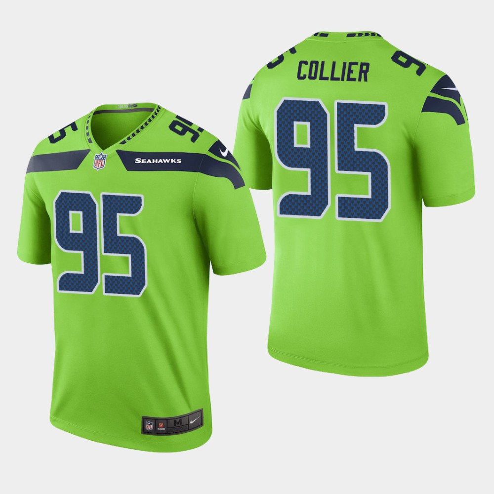 Men's NFC Seattle Seahawks #95 L.J. Collier Green NFL Game Jersey