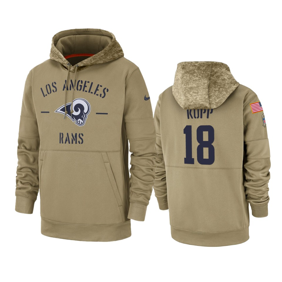Men's Los Angeles Rams #18 Cooper Kupp Tan 2019 Salute to Service Sideline Therma Pullover Hoodie