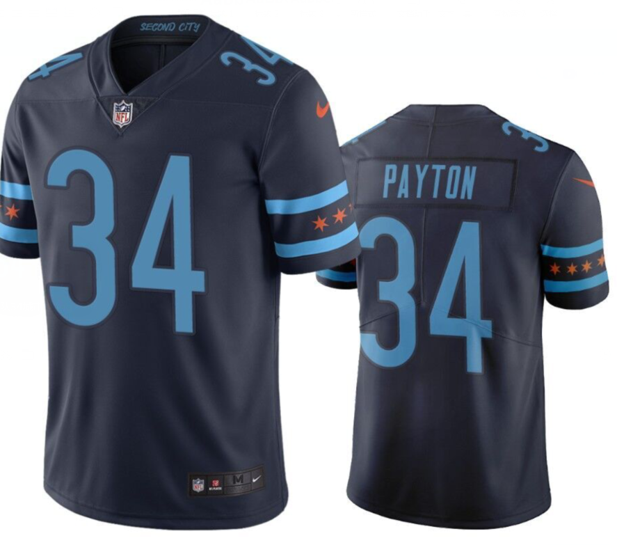 Men's Chicago Bears #34 Walter Payton Navy 2019 City Edition Limited Stitched NFL Jersey