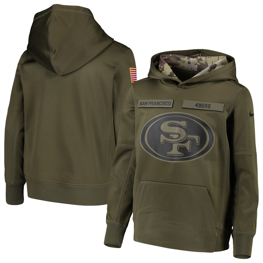 Men's San Francisco 49ers 2018 Olive Salute to Service Sideline Therma Performance Pullover Stitched NFL Hoodie