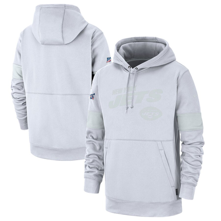 Men's New York Jets White 2019 100th Season Sideline Platinum Therma Pullover Hoodie