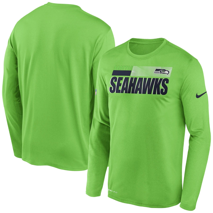 Men's Seattle Seahawks 2020 Green Sideline Impact Legend Performance Long Sleeve T-Shirt