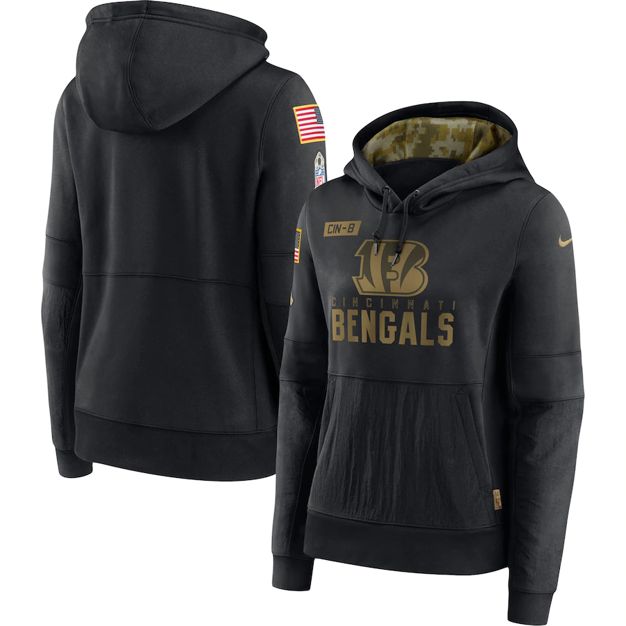 Women's Cincinnati Bengals 2020 Black Salute to Service Sideline Performance Pullover Hoodie (Run Small)