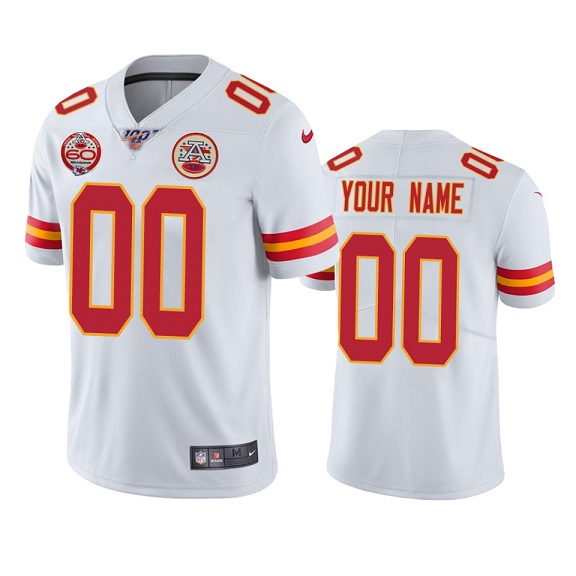Men's Kansas City Chiefs ACTIVE PLAYER Custom White 100th Season With 60 Patch Vapor Untouchable Limited Stitched NFL Jersey