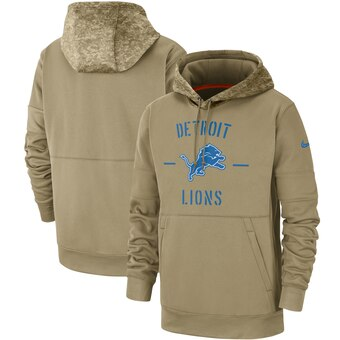 Men's Detroit Lions Tan 2019 Salute to Service Sideline Therma Pullover Hoodie
