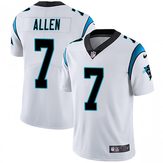 Men's Carolina Panthers #7 Kyle Allen White Vapor Untouchable NFL Limited Stitched Jersey