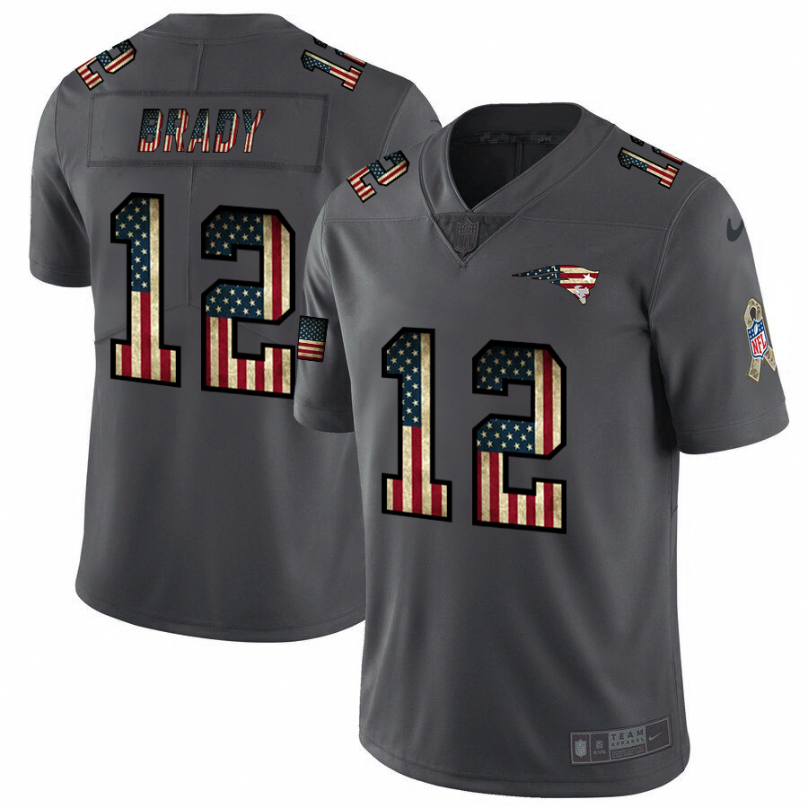 Men's New England Patriots #12 Tom Brady Grey 2019 Salute To Service USA Flag Fashion Limited Stitched NFL Jersey
