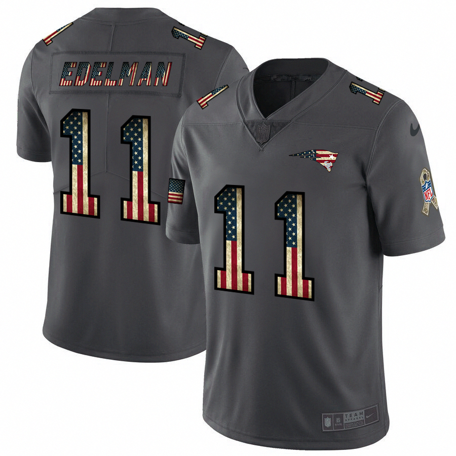 Men's New England Patriots #11 Julian Edelman Grey 2019 Salute To Service USA Flag Fashion Limited Stitched NFL Jersey