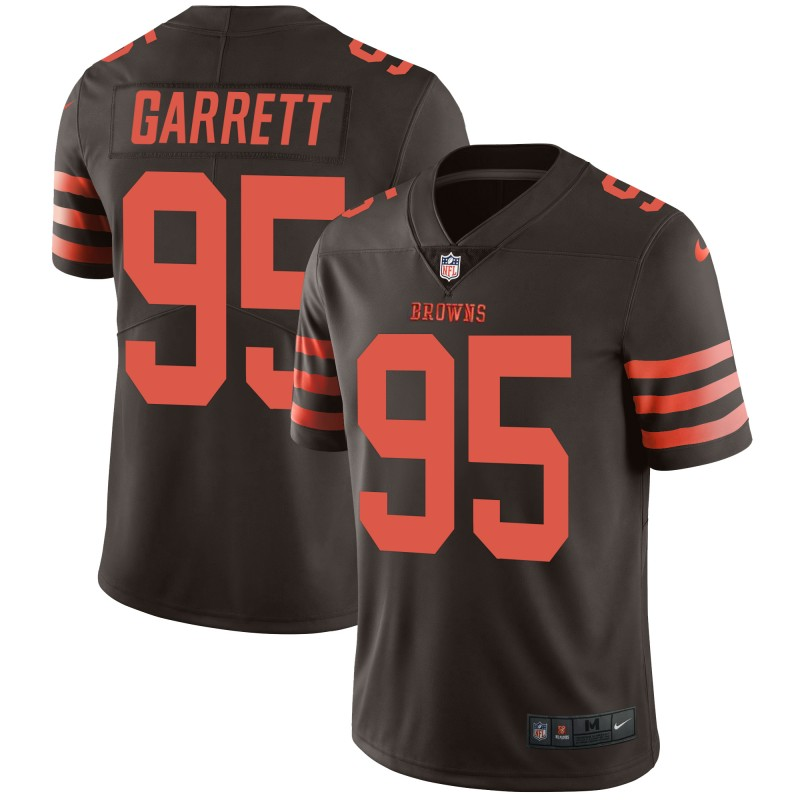 Men's Cleveland Browns #95 Myles Garrett Brown Color Rush Limited Stitched NFL Jersey