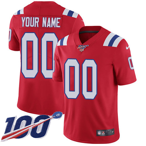 Men's New England Patriots ACTIVE PLAYER Custom Red 100th Season Vapor Untouchable Limited Stitched NFL Jersey