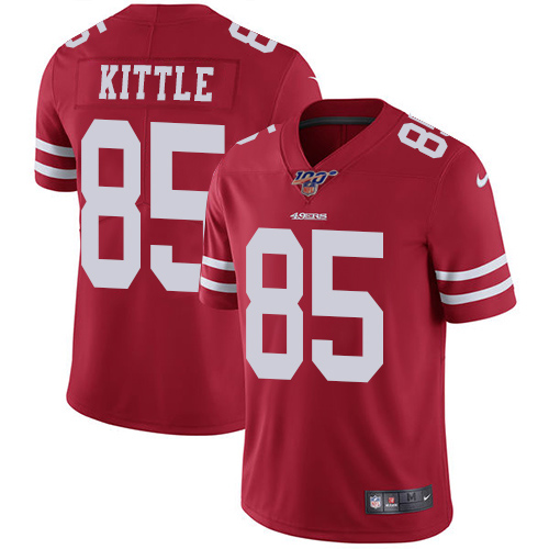 Men's San Francisco 49ers #85 George Kittle Red 2019 100th season Vapor Untouchable Limited Stitched NFL Jersey