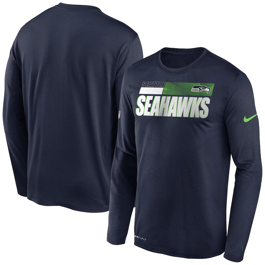 Men's Seattle Seahawks 2020 Navy Sideline Impact Legend Performance Long Sleeve T-Shirt