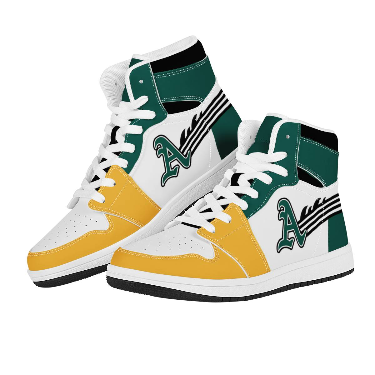 Women's Oakland Athletics High Top Leather AJ1 Sneakers 001
