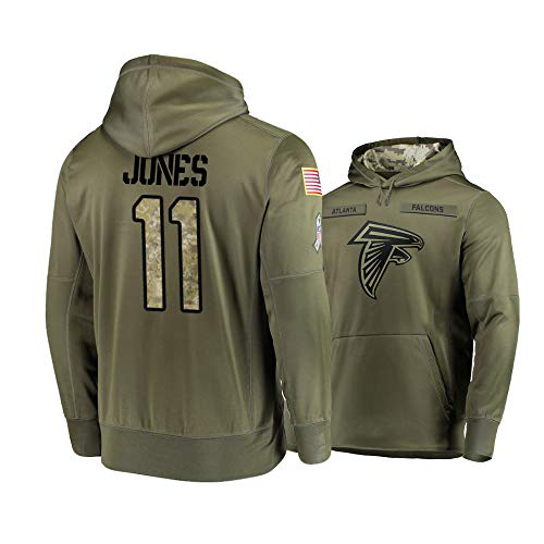 Men's Atlanta Falcons #11 Julio Jones 2019 Olive Salute To Service Sideline Therma Performance Pullover Hoodie