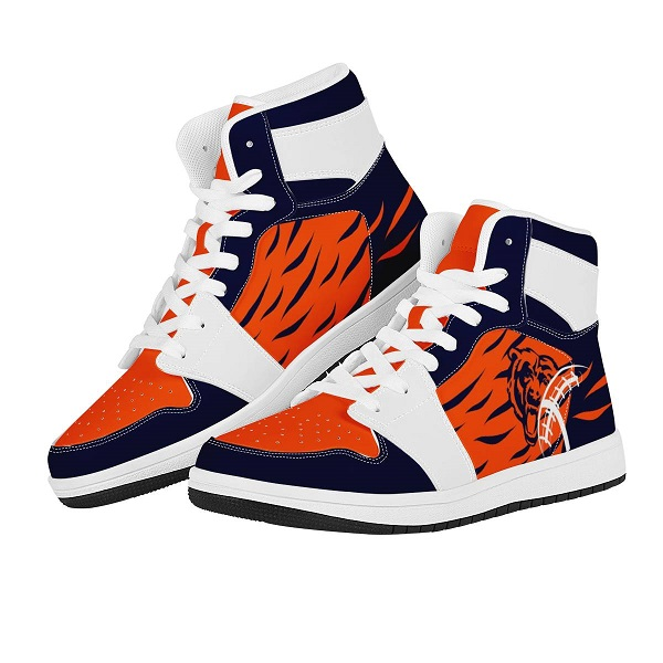 Women's Chicago Bears High Top Leather AJ1 Sneakers 001