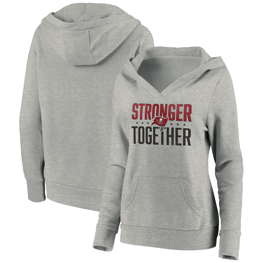 Women's Tampa Bay Buccaneers Heather Gray Stronger Together Crossover Neck Pullover Hoodie(Run Small)