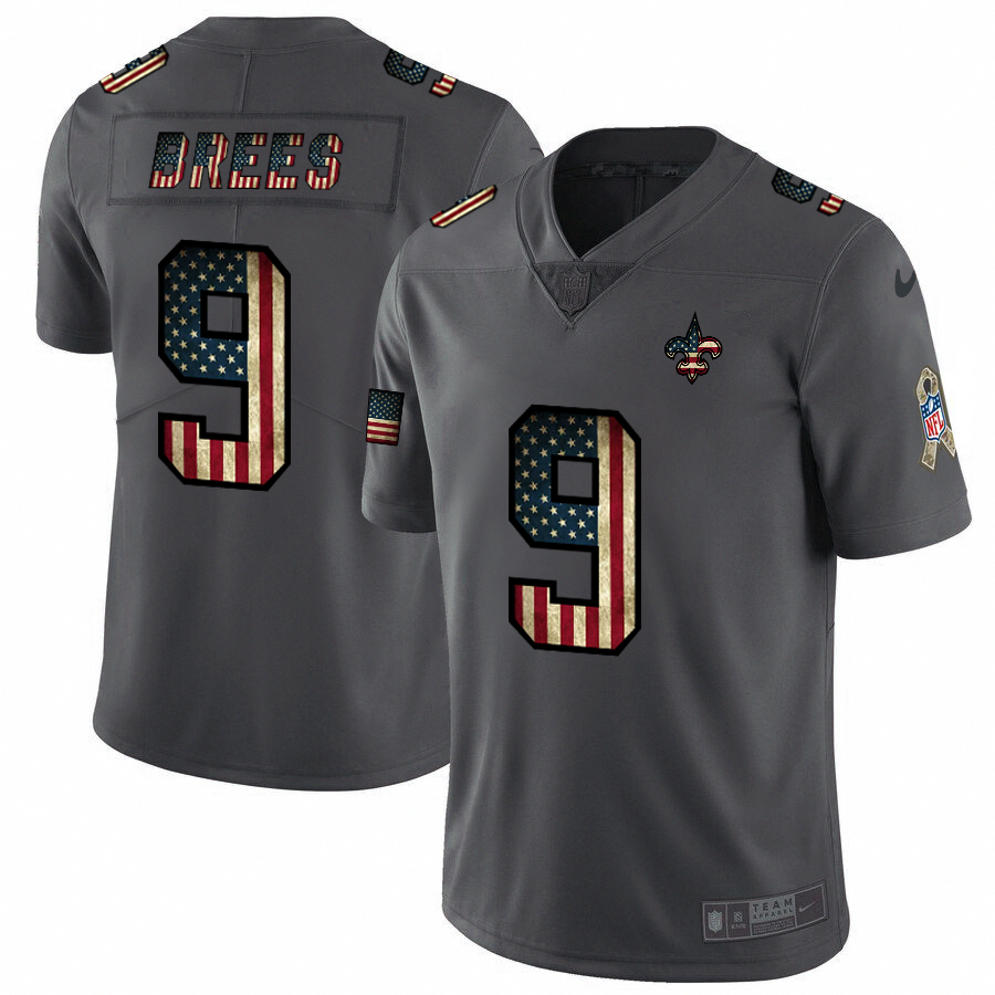 Men's New Orleans Saints #9 Drew Brees Grey 2019 Salute To Service USA Flag Fashion Limited Stitched NFL Jersey