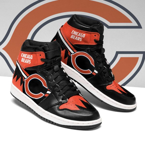 Men's Chicago Bears High Top Leather AJ1 Sneakers 002