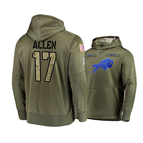 Men's Buffalo Bills #17 Josh Allen 2019 Olive Salute To Service Sideline Therma Performance Pullover Hoodie