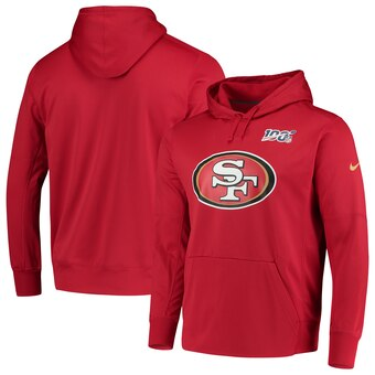 Men's San Francisco 49ers Scarlet 100th Season Primary Logo Circuit Performance Pullover Hoodie