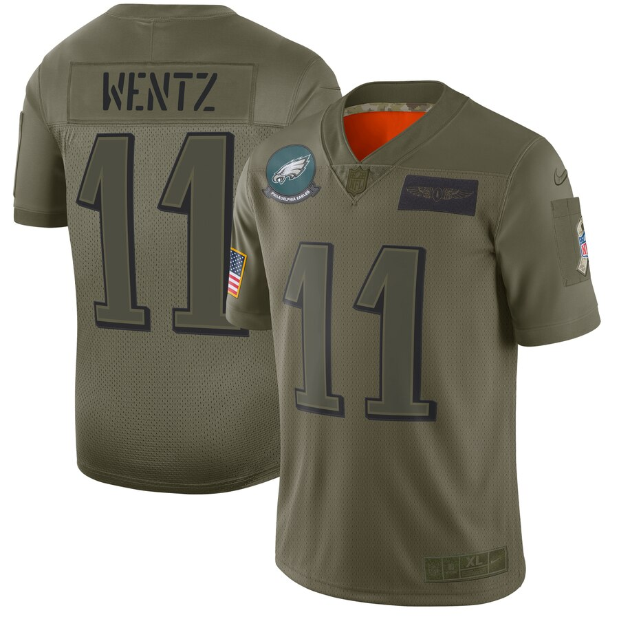 Men's Philadelphia Eagles #11 Carson Wentz 2019 Camo Salute To Service Limited Stitched NFL Jersey