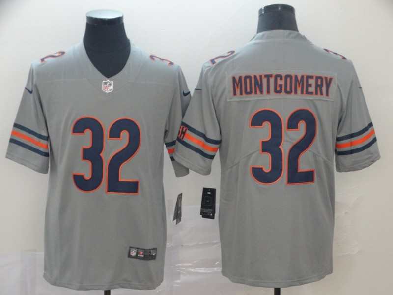 Men's Chicago Bears #32 David Montgomery Silver Inverted Legend Stitched NFL Jersey