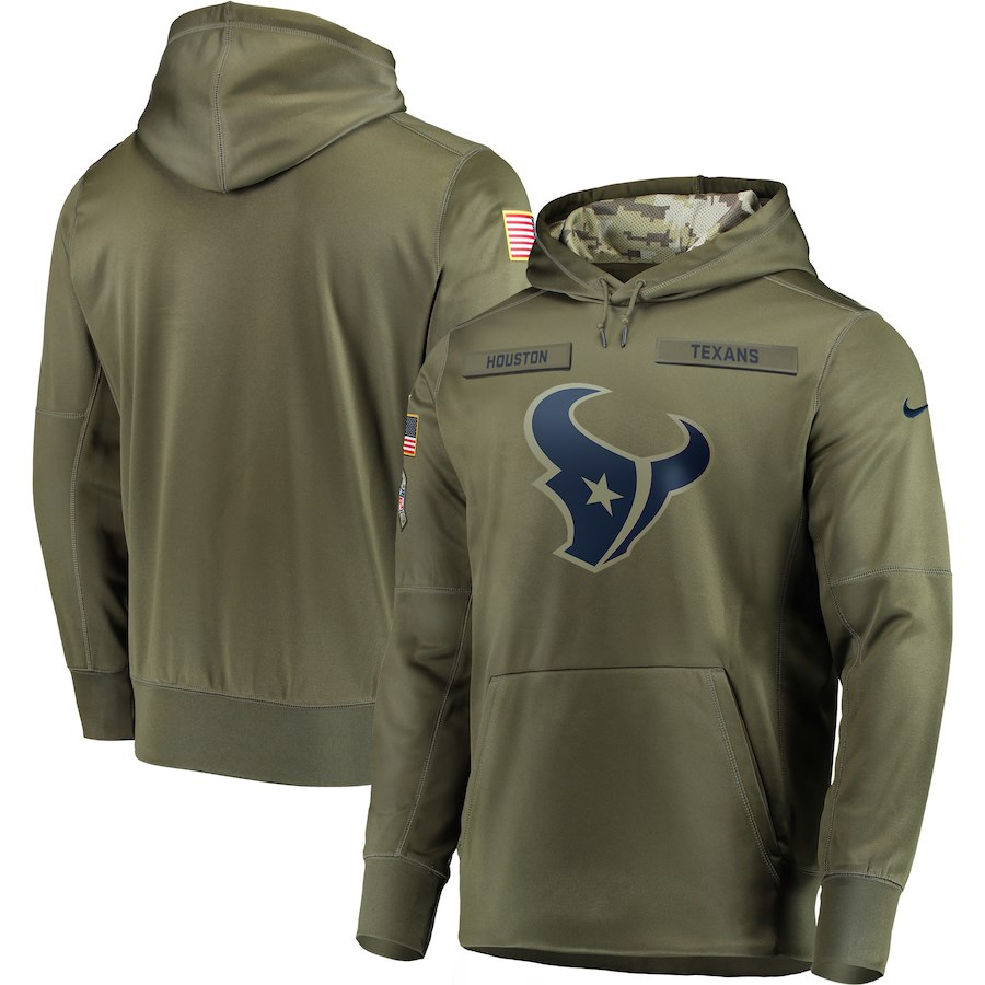 Men's Houston Texans 2018 Olive Salute to Service Sideline Therma Performance Pullover Stitched NFL Hoodie