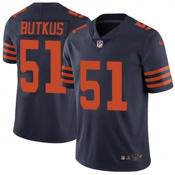 Men's Chicago Bears #51 Dick Butkus Navy Color Rush Limited Stitched Jersey