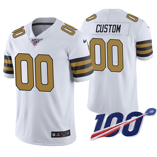Men's New Orleans Saints ACTIVE PLAYER Custom Color Rush 100th Season Limited Stitched NFL Jersey