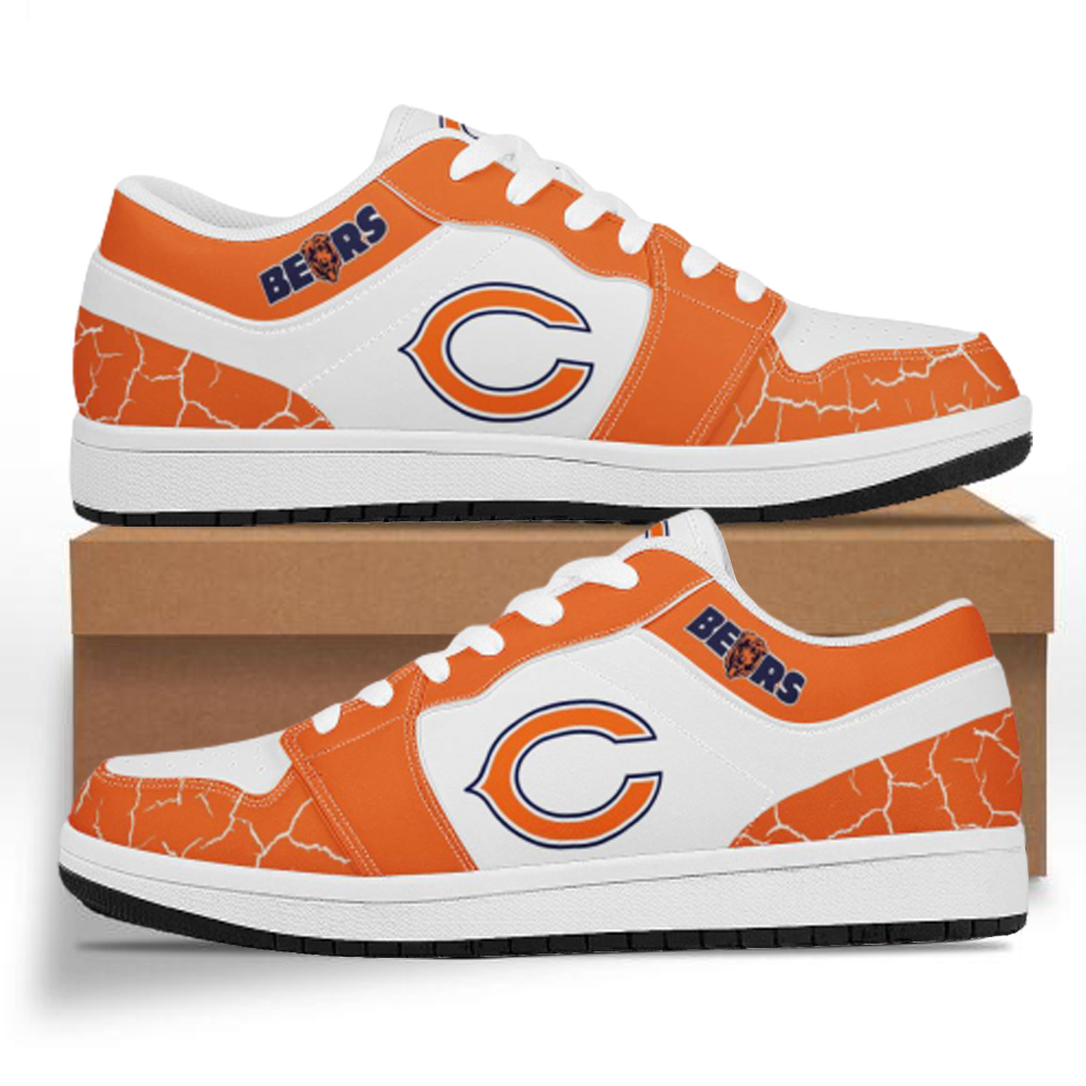 Men's Chicago Bears Low Top Leather AJ1 Sneakers 001