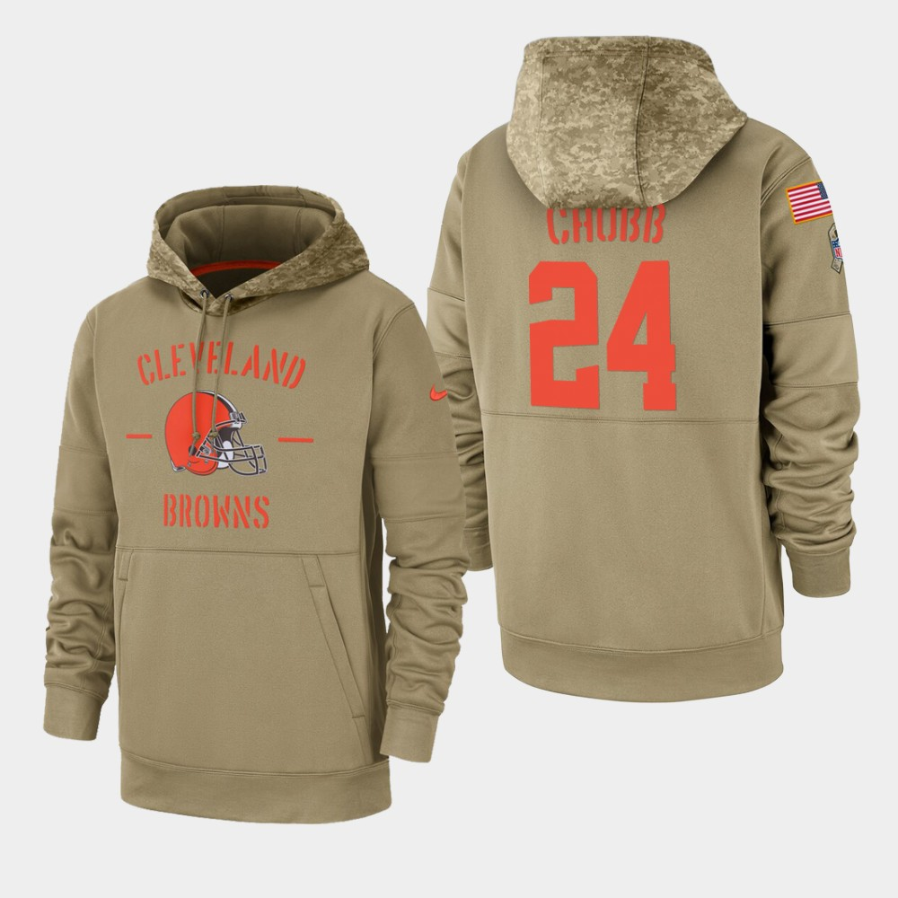 Men's Cleveland Browns #24 Nick Chubb Tan 2019 Salute to Service Sideline Therma Pullover Hoodie