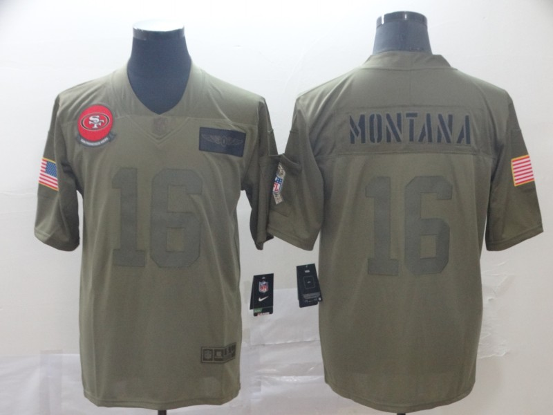 Men's San Francisco 49ers #16 Joe Montana 2019 Camo Salute To Service Limited Stitched NFL Jersey