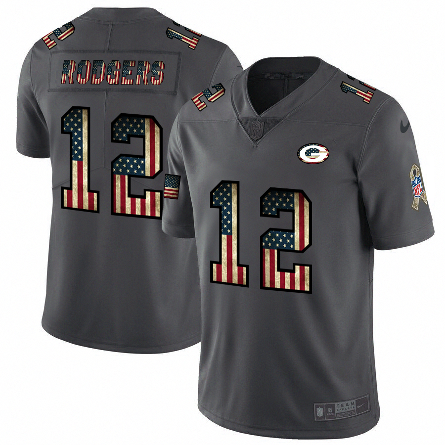 Men's Green Bay Packers #12 Aaron Rodgers Grey 2019 Salute To Service USA Flag Fashion Limited Stitched NFL Jersey