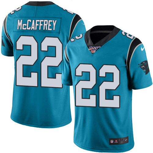 Men's Carolina Panthers #22 Christian McCaffrey Blue 2019 100th Season Vapor Untouchable Limited Stitched NFL Jersey