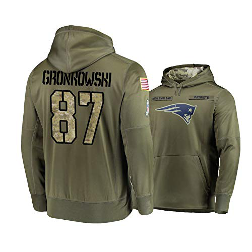 Men's New England Patriots #87 Rob Gronkowski 2019 Olive Salute To Service Sideline Therma Performance Pullover Hoodie