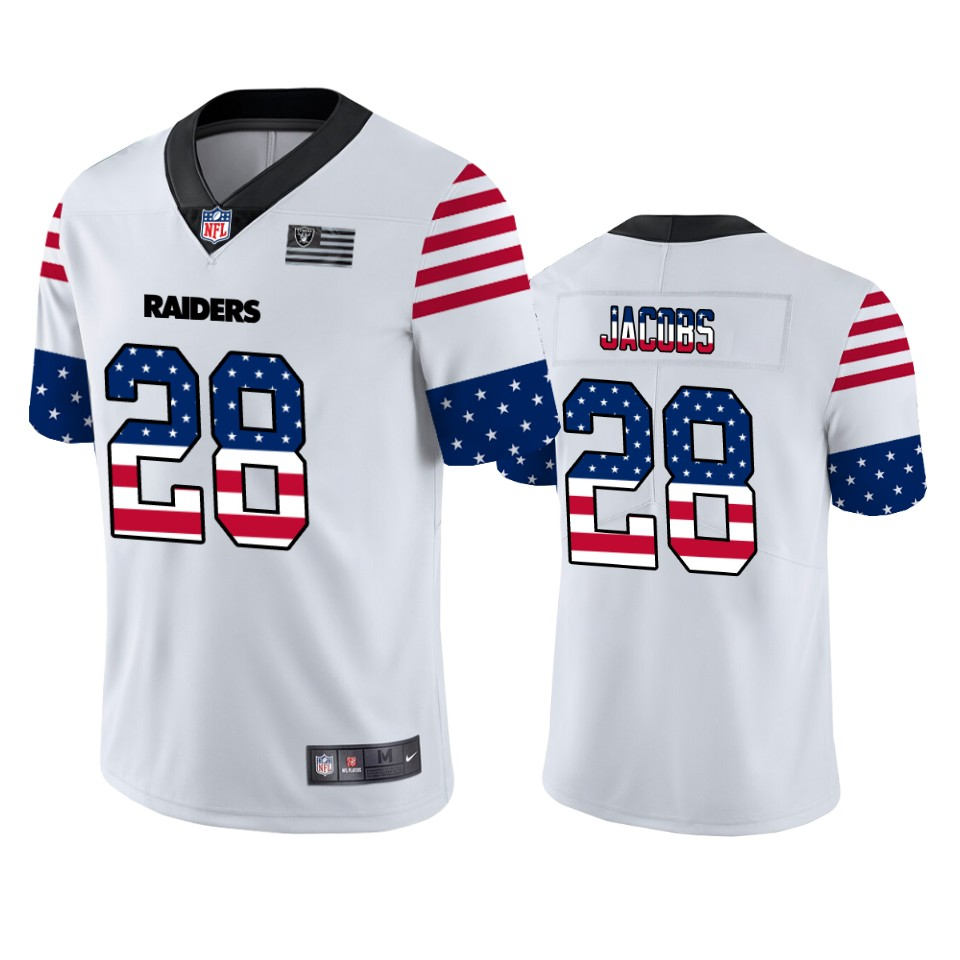Men's Oakland Raiders #28 Josh Jacobs White 2019 USA Flag Fashion Limited Stitched NFL Jersey