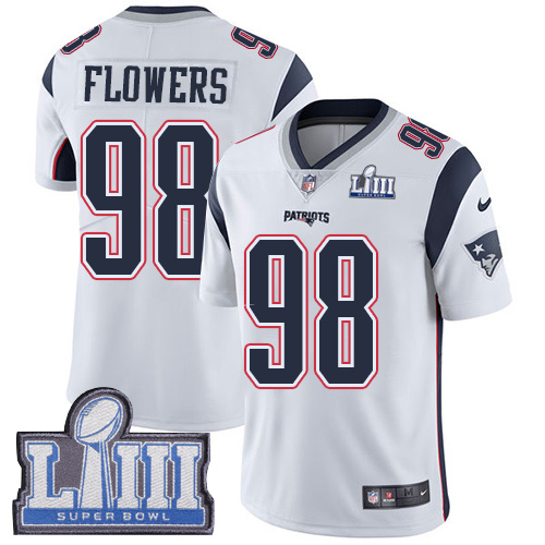 Men's New England Patriots #98 Trey Flowers Navy Blue Super Bowl LIII Vapor Untouchable Limited Stitched NFL Jersey