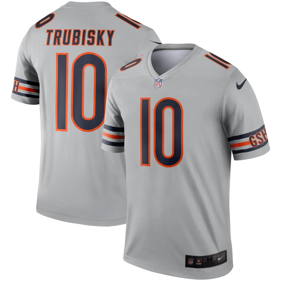 Men's Chicago Bears #10 Mitchell Trubisky Silver Inverted Legend Stitched NFL Jersey