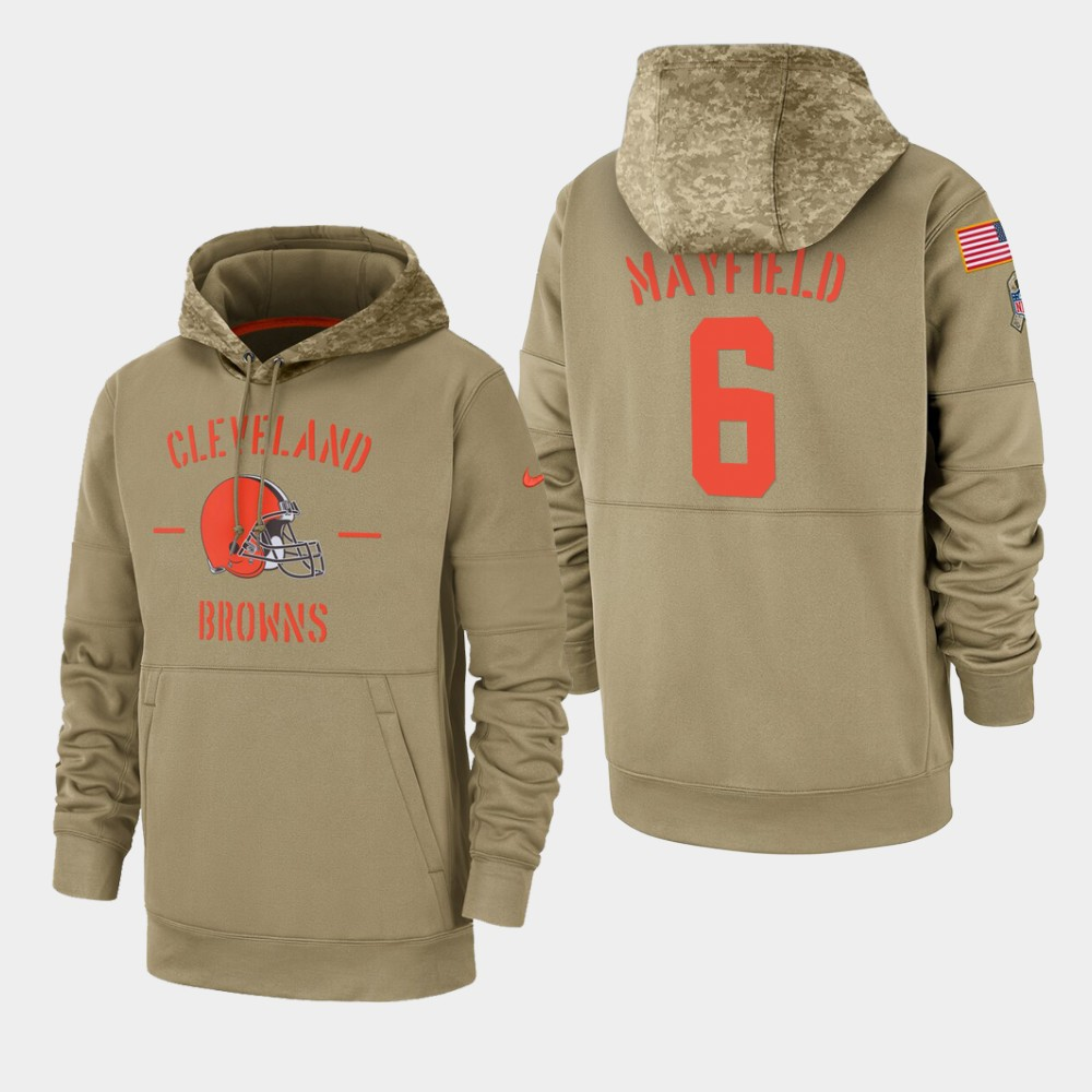 Men's Cleveland Browns #6 Baker Mayfield Tan 2019 Salute to Service Sideline Therma Pullover Hoodie