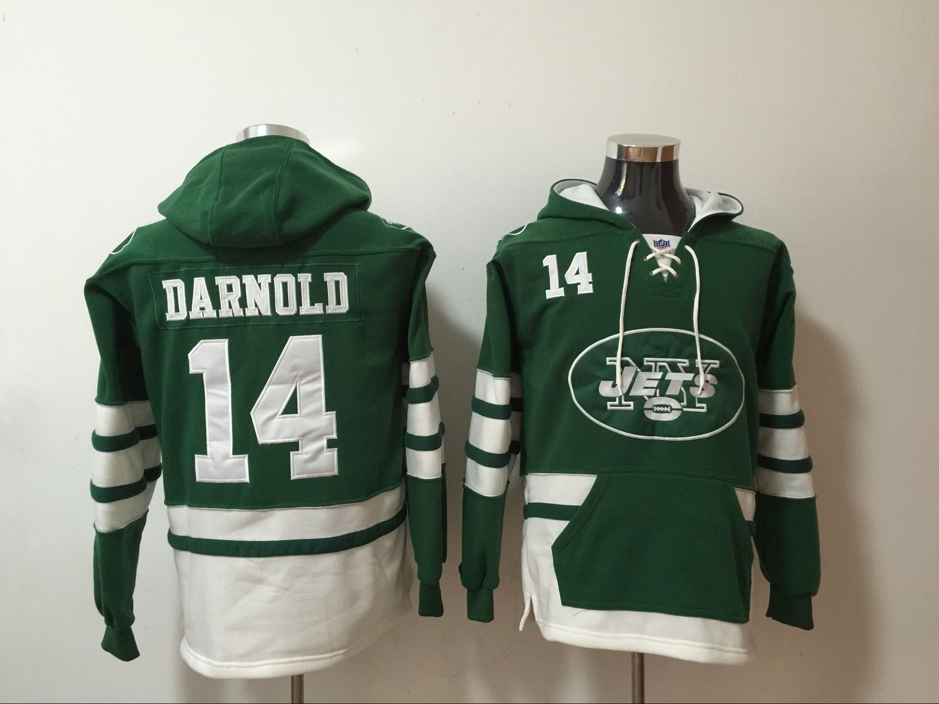 Men's New York Jets #14 Sam Darnold Green All Stitched NFL Hooded  supplier
