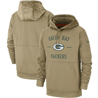 Men's Green Bay Packers Tan 2019 Salute to Service Sideline Therma Pullover Hoodie