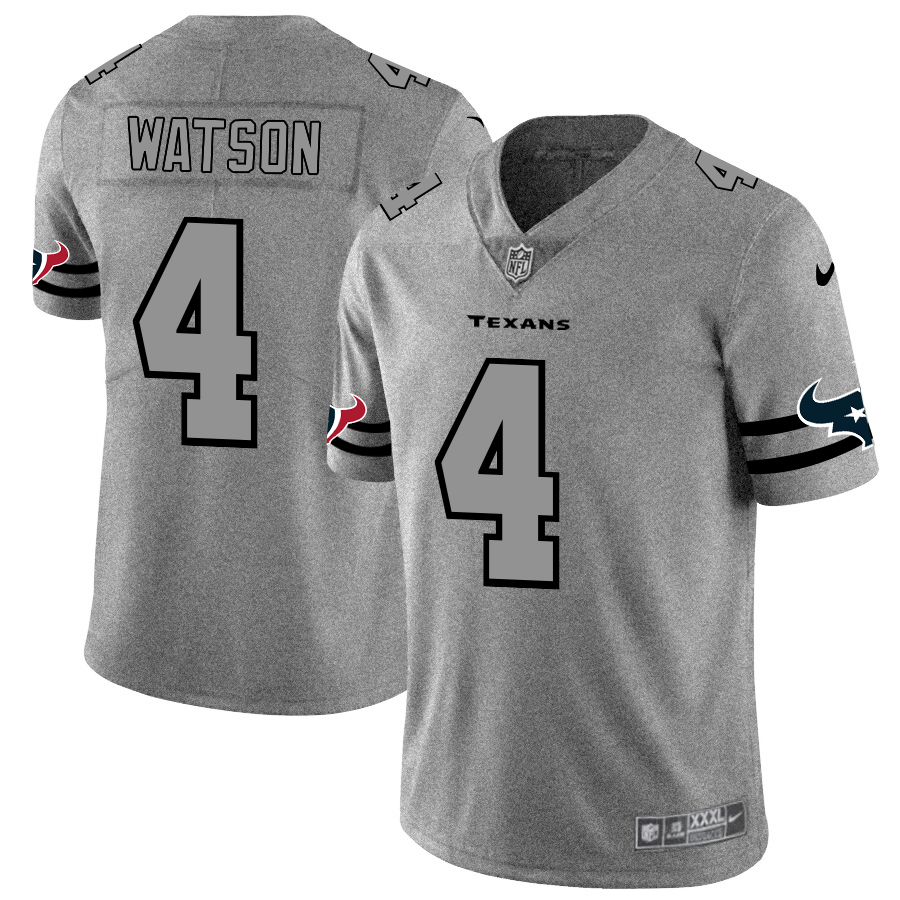 Men's Houston Texans #4 Deshaun Watson 2019 Gray Gridiron Team Logo Limited Stitched NFL Jersey